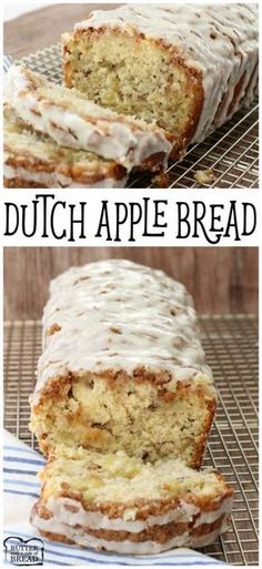 Apple Bread made from scratch with butter, sugar & plenty of fresh apples. Topped with a cinnamon streusel & drizzled with warm vanilla glaze, it's amazing.