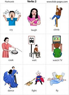 Kids Pages - Flashcards - Verbs 2 Learning English For Kids, English Lessons For Kids, Kids English, English Tips, English Language Learning, Teaching English, Learn English, Education English, Verbs For Kids