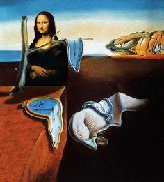 Persistance of Mona Lisa . Collages, Collage Art, Mona Friends, Salvador Dali Art, Mona Lisa Smile, Mona Lisa Parody, 6th Grade Art, Classic Artwork, Famous Artwork