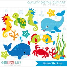 Under the Sea Clip Art / Digital Clipart - Instant Download