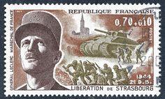 N°239 Timbre Poste 1969  Libération de Paris et Maréchal Leclerc   0.70 + 0.10 fr ;  par Okaio Création
