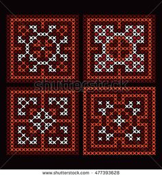 Hmong's (mountain people) hand pattern in retro style, cross-stitch embroidery patterns, ukrainian ethnic ornament, vector illustration