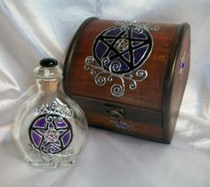 Amethyst Pentacles Witch's Chest and Potion Bottle Gift Set by ElegantlyEnchanting on Etsy