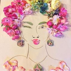 Wink 😜 it's Wednesday! By 💁🏼 Happy Hump day -V Mixed Media Art, Altered Art, Flower Art, Whimsical, Floral Wreath, Aurora Sleeping Beauty, Paper Sculptures, Face Hair, Girl Style