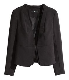 Gently fitted jacket with double-stitched lapels. Hook-and-eye fastener at front. Lined.