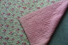 Welsh Quilts: Green Floral Welsh Wholecloth Quilt