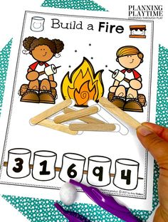 Counting + Number Recognition + Pattern Matching!! - Pre-k Camping Worksheets