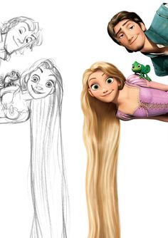 Tangled (2010) concept sketch by Glen Keane in comparison to final design