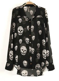 Black Long Sleeve Skull Print Sheer Blouse - Sheinside.com