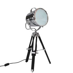 Black Tripod Spotlight Table Lamp With Gold Inner Shade   Dressing ...