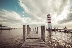 Free Image: Pier with a Lighthouse: Vintage Edit | Download more on picjumbo.com!