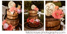 Red Velvet and Strawberry 3 tiered wine barrel inspired Wedding Cake with wooden initial cake topper.