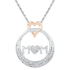 """Circle Mom"""" Heart Pendant with Diamond Accents in Sterling Silver - 18"""" (IJ-I2-I3), Women's, White"""