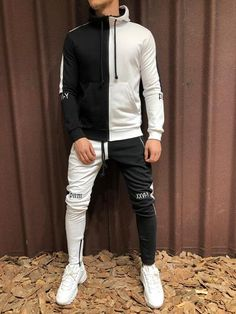 NSEW Block TrackSuit Sweatpant Hoodie Sweater White Black 4250 is part of Mens outfits This item will be delivered in 23 Business days + Easy and free return PRODUCT FEATURES Men's Streetw - Men Street, Street Wear, Urban Fashion, Mens Fashion, Gym Fashion, Fashion Guide, Fashion Photo, Style Fashion, Mode Man