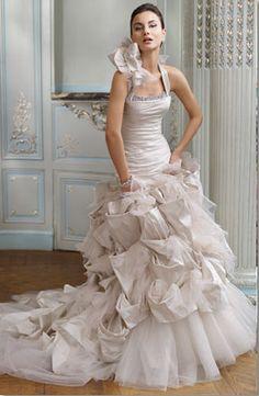 Outstanding chiffon and textured Ian Stuart wedding gown.