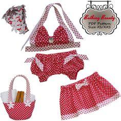 Dog Swimsuit Bikini Skirt Tote Cap 1940s Pin Up Style PDF Sewing Pattern XS/XXS