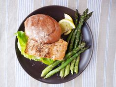 Broiled Salmon Sandwiches with Pesto-Mayo and Asparagus  - Delish.com