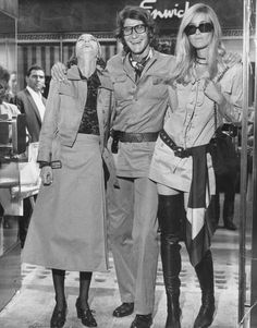 Yves Saint Laurent with muse Betty Calroux (right) and Loulou de la Falaise