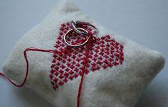 Cross Stitch Heart Ring Bearer Pillow by BettyAnneProductions, $25.00