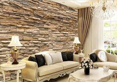 3D Wallpaper Bedroom Living Mural Roll Modern Faux Brick Stone Wall Background - http://centophobe.com/3d-wallpaper-bedroom-living-mural-roll-modern-faux-brick-stone-wall-background/ -