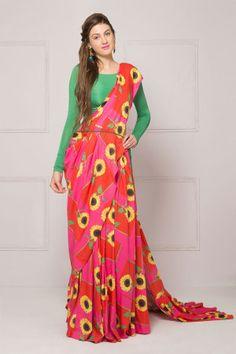 SURENDRI - Sunflower printed pre pleated sari