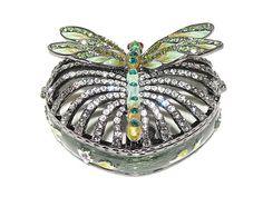 Swarovski Crystal Dragonfly Heartshape Trinket Box