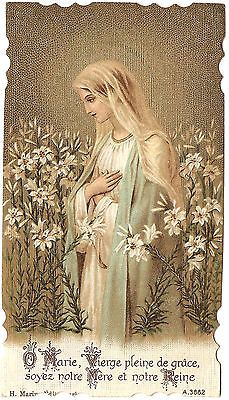 Antique Vintage French Holy Prayer Card Mary Full of Grace Be Our Mother & Queen