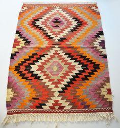 Sukan / VINTAGE Turkish Kilim Rug Carpet - handwoven kilim rug - antique kilim rug - decorative kilim - natural wool. via Etsy.