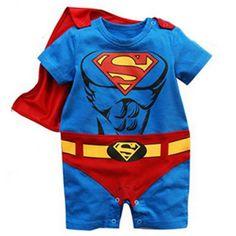 Ensemble bébé superman Cette combi Super héro accompagnée de sa cape rouge détachable sera un cadeau de naissance original, parfait pour un super bébé.