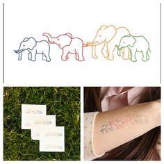 Elefantes tatuaje temporal juego de 2 por Tattify en Etsy