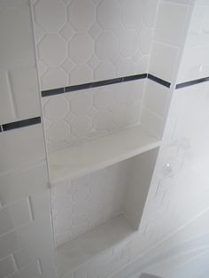 My Bathroom Reno: Shower Niche/alcove With Hexagon Tile U0026 Marble Shelves  (with