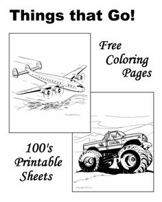 Coloring Pages Of Airplanes Boats Cars Trains And Trucks