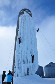 Ice-climbing an old silo in Cedar Falls, Iowa