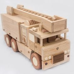 Wooden fire truck by DesLineToys on Etsy