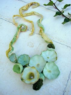 Green Linen Necklace, Paper Jewelry, Statement, Bib, Textile Jewelry. Boho, Hippie, Natural Style