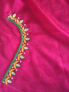 Wedding Saree Blouse Designs, Best Blouse Designs, Simple Blouse Designs, Simple Designs, Kurti Embroidery Design, Embroidery Works, Simple Embroidery, Beaded Embroidery, Applique Designs