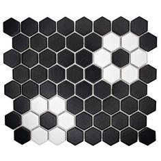 Black Tile Bathrooms, Vintage Bathrooms, Half Bathrooms, White Bathroom, Small Bathroom, Master Bathroom, Vintage Tile Floor, Black Hexagon Tile, Polished Porcelain Tiles