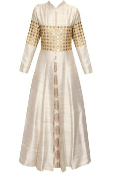 Beige star embroidered jacket kurta with beige inner gown available only at Pernia's Pop Up Shop.