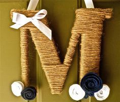 Twine Monogram Wreath with handcrafted felt flowers (baby boy room) by Wreaths247 on Etsy