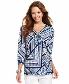 JM Collection Beaded Scarf-Print Top