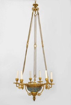 19th c. French Bronze Dore and Cloisonné Chandelier | From a unique collection of antique and modern chandeliers and pendants at https://www.1stdibs.com/furniture/lighting/chandeliers-pendant-lights/