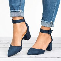 Women Sandals 2019 Fashion Low Heels Sandals For Summer Shoes Woman Casual Block Heel Zapatos Mujer Plus Size 43 Sandale Femme Chunky Heel Shoes, Low Heel Sandals, Ankle Strap Shoes, Suede Heels, Strap Heels, Pumps Heels, Low Heels, Low Heel Shoes, Denim Sandals