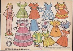 Mitsy, a little  paper doll illustrated by Enriqueta Bombon.  This series has particularly sweet faces    RECORTABLE BRUGUERA 16.50 X 11.50 BOMBON MITSY