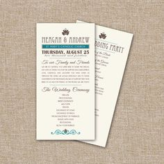 Wedding Program, Vintage Typography. This listing is fully customizable and is for the digital files only. by JRaeCardArt on Etsy https://www.etsy.com/listing/157804844/wedding-program-vintage-typography-this