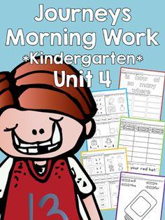 Houghton Mifflin Harcourt Journeys for Kindergarten, 2014 edition Morning Work for Unit 4