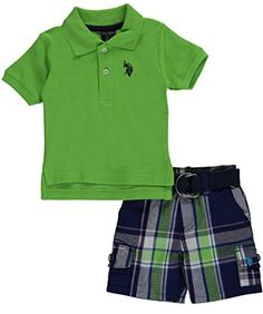 """Baby Boys' """"Polo & Cargo"""" 2-Piece Outfit - summer lime, 3 - 6 months. 100% Cotton. Made In China. Machine Wash. short sleeve polo, short with elastic waistband."""