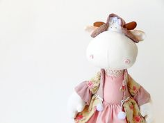 Toy Cow in a pink dress  от LevchenkoDoll на Etsy, $65.00