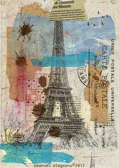 Goog Morning Paris -  Eiffel Tower Emanuel Ologeano Limited edition  Print of mixed media collage 8x 11. $6.91, via Etsy.