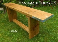 Handmade Rustic Industrial Bench made from Recycled Reclaimed Scaffold Boards by HandmadeTodayUK on Etsy