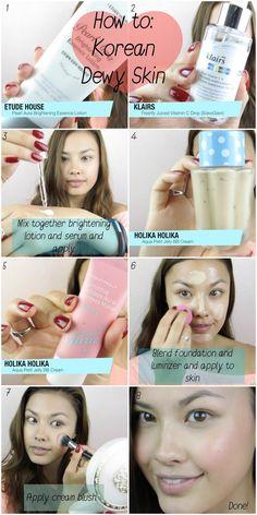 How to: Korean Dewy Skin Base Foundation Tutorial ♥ 촉촉 메이크업 메이크업 - The Beauty Breakdown